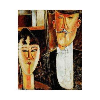 Amedeo Modigliani Gelin ve Damat Çizilmiş boyamaya hazır Tuval