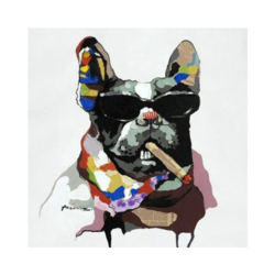 Bulldog Çizilmiş Boyamaya Hazır Tuval
