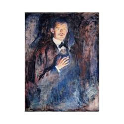 Edvard Munch Yanan Sigaralı Otoportre boyamaya hazır tuval