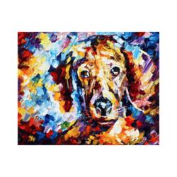 Renkli Köpek Çizilmiş Boyamaya Hazır Tuval