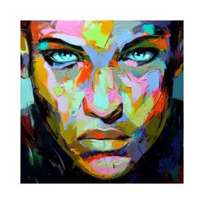 Renkli Portre Çizilmiş Boyamaya Hazır Tuval