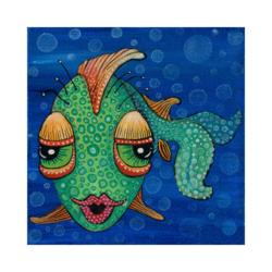 Süslü Balık Çizilmiş Boyamaya Hazır Tuval