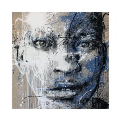 Siyahi çocuk portre çizilmiş boyamaya hazır tuval
