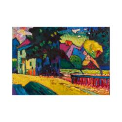 Wassily Kandinsky Yeşil Ev ve Peyzaj Boyamaya Hazır Çizilmiş Tuval