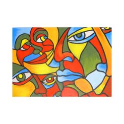 Yüzler Çizilmiş Boyamaya Hazır Tuval