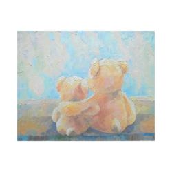 ayı ve yavrusu boyamaya hazır tuval