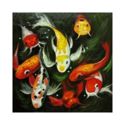 bıyıklı japon balıkları çizilmiş boyamaya hazır tuval