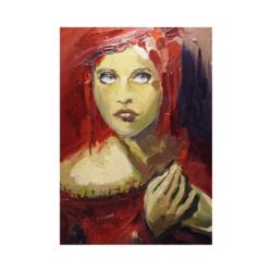 Cadı portre çizilmiş boyamaya hazır tuval