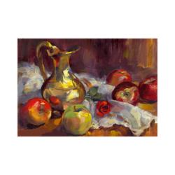 elmalar ve testi boyamaya hazır tuval
