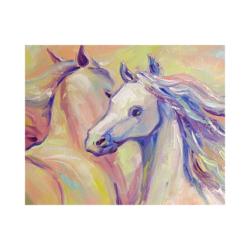 mutlu beyaz atlar boyamaya hazır tuval