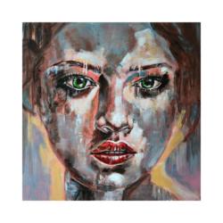 sisli kadın portre çizilmiş boyamaya hazır tuval