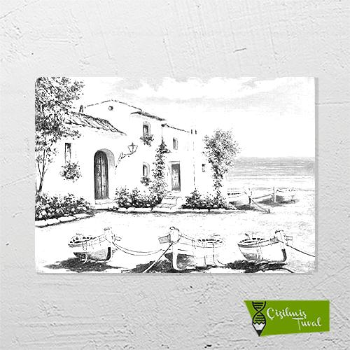 Beyaz Ev çizilmiş Boyamaya Hazır Resim Tuvali Satın Alın